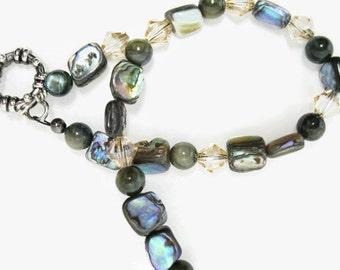 Abalone Bracelet beaded handmade shell beadwork swarovski golden shadow crystal