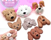 Set of 7 Dog Face Mold 440L* Silicone Mold Cake Topping Fondant Sugarpaste Chocolate Decoration fimo BEST QUALITY
