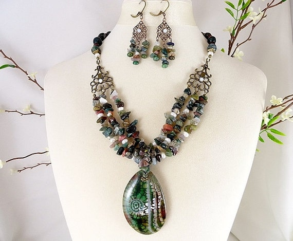 Green Gemstone Necklace, Dragon Veins Pendant Necklace, Convertable Jewelry, Agate Gemstone Necklace, Matching Earrings, OOAK