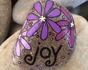 Happy Rock - JOY - Hand-Painted River Rock Stone - purple orchid daisies pansies flowers