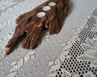 Large Rustic Driftwood Candle Holder  - Country Candle Holder - Rustic Wedding - Tree Limb Tea Light Centerpieces - Gift - Cabin Decor