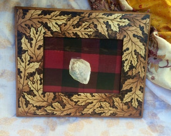 Oak Leaves ~ Dreaming of Autumn ~ Woodburned Wooden Photo Frame
