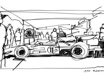 1970 McLaren M14A - Original A4 Pen Sketch