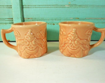 Vintage Peach Red Wing for Hankscraft Clown Mugs