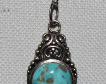 Turquoise and Sterling Silver Pendant and Sterling Silver Chain