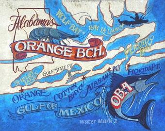 Orange Beach  Alabama  retro Beach Map   Print