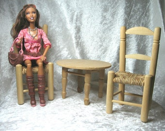 "Unfinished rustic table + 2 chairs for dolls scale 1/6 * Furniture for 10-12"" dolls * Furniture set for Barbie/Blythe/BJD/Momoko size dolls"