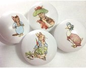 4 x Gorgeous Handpainted and Decoupaged Beatrix Potter Peter Rabbit Large 2 inch Drawer Knobs