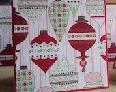 Christmas Holiday Ornament 3x3 Mini Cards Set of 8