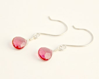 Hot Pink Quartz and Sterling Silver Earrings / Raspberry Pink AAA Quartz Heart Briolette / Semi-Precious Gemstone Jewelry / E55