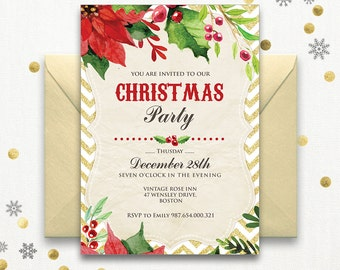 Christmas Party Invitation Rustic Poinsettia Winter Printable Cheap Holiday Invitations Template Download Red Green