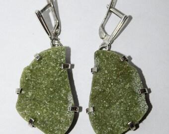 Vesuvianite earrings,  Russian Gemstone, FREE SHIPPING