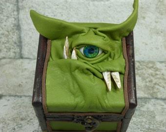 Desk Organizer Treasure Chest Trinket Storage Stash Green Leather Harry Potter Labyrinth