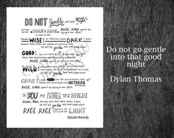 Instant Download, Dylan Thomas Do not go gentle into that good Night, interstellar poem, dylan thomas poem, movie quote, galaxy print