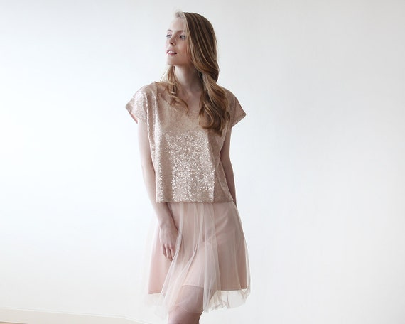Sequin pink top with short sleeves, Sparkling pink blouse 2044