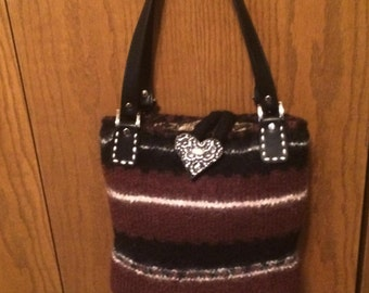 Black and Brown Felted Wool Knit Purse with Leather Straps for handles