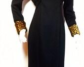 40% OFF SUMMER CLEARANCE Leopard Cuffed Little Black Cat Dress-Slinky Slit Skirt -Faux  Fur- Fitted Dress by Echo - Drama Queen