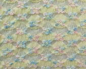 ℳ Bunting Buds in yellow pink and blue 2 Way Stretch Polyester Spandex Lace 45 inches FC12308 Fabric by the Yard, 1 yard