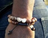 Man Bracelet, Beaded Bracelet, Bead Bracelets, mens bracelet, Mens jewelry, wood bead bracelet, brown bracelet for men, bohemian bracelets