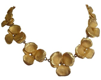 Vintage LANVIN golden petal flower charm statement necklace. Masterpiece jewelry. Perfect vintage gift