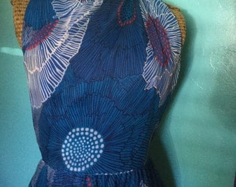 1970's Two Piece Chiffon Mulit-colored Floor Length Dress with Coverlet