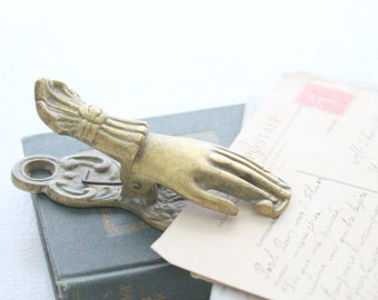 Vintage Victorian Solid Brass Hand Memo Holder Desk or Office Organizer Novelty Letter or Paper Clip To Do List