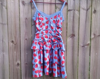 Vintage 90s Betsey Johnson Blue Red Rose Print Ruffles Fit and Flare Basque Waist Prom Party Grunge Punk Dress