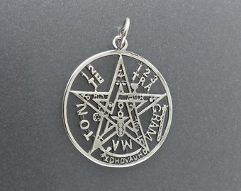 Sterling Silver Tetragrammaton Pendant Wiccan Pagan Occult Pentagram