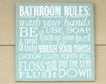 Bath rules sign etsy for Bathroom decor rules