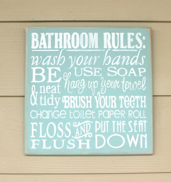 BATHROOM RULES - Bathroom Decor -  12 x 12 - Painted Wooden Sign - Bathroom sign - Hand Painted sign - Primitive Bathroom - Rustic Bathroom