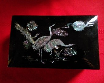 Vintage Black Lacquer Box With Mother of Pearl or Abelone Inlay of a Bird