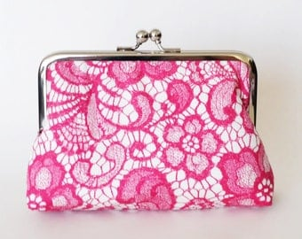 CLUTCH in Pink Lace - LARGE