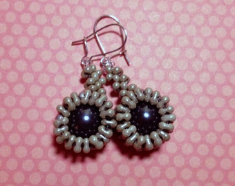 Woven Drop Earrings Starburst Earrings Gray Bead Earrings Woven Grey Earrings Beadwoven Earrings Grey Drop Earrings Dangle Earrings