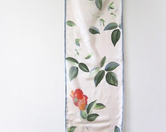 Long silk scarf, hand painted silk, Wedding accessory, Bridal scarves, silk gift, handmade floral scarf - made TO ORDER