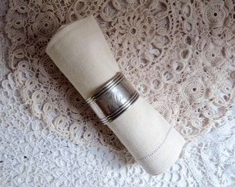 Antique SILVER NAPKIN RING, Orfèvrerie  Christofle. Monogrammed F C. Silver Plated Napkin Holder.