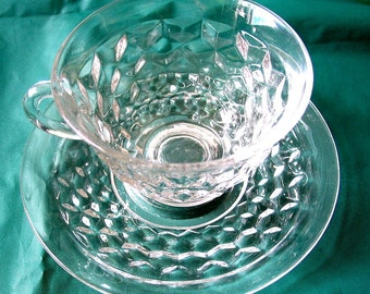 Fostoria American 2056, Set of 6 Footed Cups and Saucers.