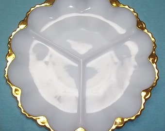 Vintage 70's White Glass Divided Dish Crafted Beautifully w/Gold Trim FREE Shipping
