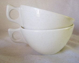 Vintage Retro Branchell Melmac Cups, Set of Two White, Designer Kaye La Moyne