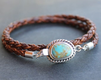 Mens bracelet - Turquoise sterling leather braid mens bracelet, Carico Lake turquoise sterling silver gift for him, anniversary, fathers day
