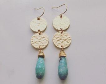 Hammeree Circle and Stone Earrings // Stone Drop Bridesmaid Earrings