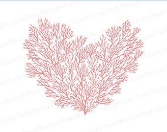 Printable Coral Heart Backdrop, Instant Download, 6ft x 4ft, Coral Reef, Beach, Banner, Party Prop, Photography Prop