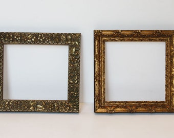 2 exquisite c1870 small antique frames embossed goldsquare squarish original finish in wonderful condition