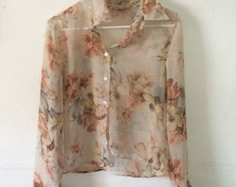 sheer floral cropped button up