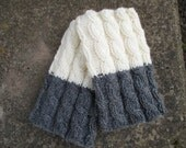 Sale 40%! Hand knitted 2 ways to wear wool Women Boot cuffs Leg warmers Cable knit  White  Dark Gray