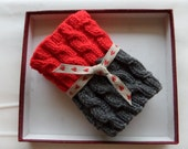 Sale 60%  Hand knitted 2 ways to wear  Boot cuffs Leg warmers Cable knit  Red  Dark gray