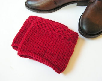 Boot Cuffs Wool  Red  Knit Boot Cuffs Leg Warmers  Boot Toppers