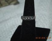 Sterling Silver Marcasite Ring Art Nouveau era 6 1/2