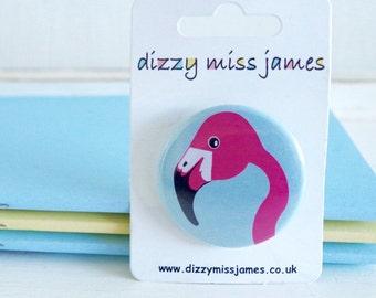 Miss Flamingo Badge - Flamingo Pin - Animal Badge - Animal Pin