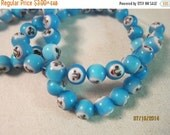 "Labor Day Sale - 8mm, Handworked, Millefiore Glass Beads, Aqua Blue, Fun Faces  -  Sold by the 18"" Strand from the 'Options' menu  -  Flat R"