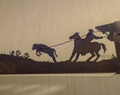 Made to Order- Hand (plasma) cut hand saw with cowboy roping a calf design